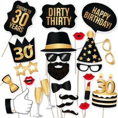 Amazon.com : 30th Birthday Party Photo Booth Props Kit - Includes 25 DIY Black and Gold Props on a Stick for His or Her 30th Birthday Celebration Photo Booths : Camera & Photo