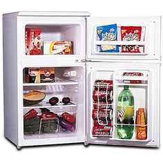 Mini Refrigerator in White, 2 Door - The two-door refrigerator and freezer have an ice-cube tray, vegetable drawer with glass shelf and slide out shelves. Has an adjustable thermostat for ease of use. 2 Door Fridge, Compact Refrigerator, Compact Kitchen, Dorm Fridge, Mini Fridge With Freezer, Refrigerator Freezer, Camping Fridge, Vegetable Drawer, Slide Out Shelves