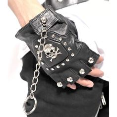 Black Leather Studded Skull Steam Punk Rock Biker Fingerless Gloves Men SKU-71102100