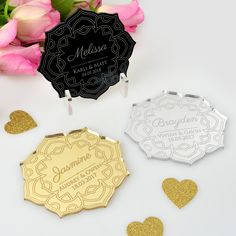 Engraved Acrylic Wedding Flower Placecards with Magnet with STAND