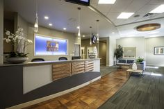I like this one too! Chiropractic Office Design, Reception Desk Design, Dentistry, Offices, Dental, Waiting, Commercial, Copper, Future