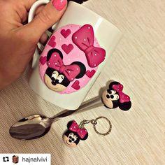 Polymer clay handmade homemade minnie mouse disney heart girly pink mug spoon keychain