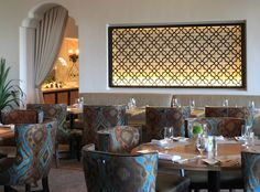 I want this laser panel for my dining room---Janie-Kasarjian-Int Bacara-Resort SwGrille LitPanel 1cropped 679