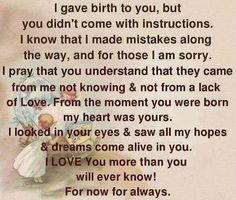 To my baby boy... Momma will always LOVE you!!