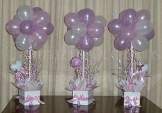 baby shower balloons | Baby Shower Balloon Topiary Tree Table Centrepieces, Gold Coast