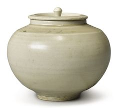 A WHITE-GLAZED JAR AND COVER, SONG DYNASTY