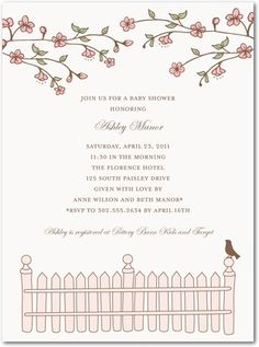 Baby Shower Invitations Picket Perch - Front : Chenille