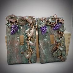 Switch Plate Cover Set - Grape cluster on Vine - Polymer Clay - Purple, gold, green - wood texture background