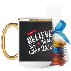 She Believed Whimsy Mug, Gold Handle, with Ghirardelli Minis, 15 oz, Black