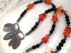 Queen Bee - Amber, Black Onyx, & Czech Glass Crystal -  bee magick - immortality  - pagan - wicca - witchcraft - spell - ritual by FiberWytch on Etsy