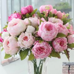 Heads/bunch) New Silk Simulation Artificial Flower Peony Flower Bouquet Large Fake Rose Floral Home Decor - Diy Flowers Silk Wedding Bouquets, Silk Flower Bouquets, Peonies Bouquet, Diy Wedding Flowers, Peony Flower, Flower Bouquet Wedding, Pink Peonies, Peony Rose, Wedding Ideas