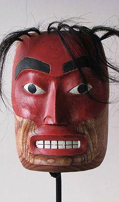 Wood carved mask of the Tlingit people, southern Alaska, (Native American). Native American Masks, American Indian Art, Tlingit, Alaska, Masks Art, Indigenous Art, Sacred Art, Native Art, First Nations