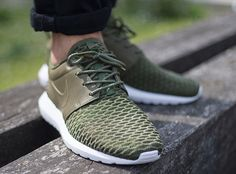 finest selection fd127 a06b2 Nike Roshe Flyknit NM PRM Rough Green post image Basket Sneakers, Men  Sneakers, Nike