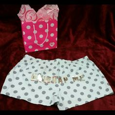 "NWT VS PINK BLUE POLKA DOT SLEEP SHORTS- UNWRAP ME Size small, way oversized. 32"" waist.  $20 on Merc, free ship. PINK Victoria's Secret Shorts"