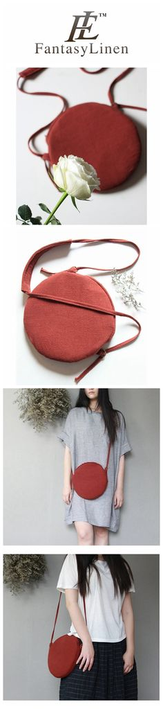 Red Fashion Handmade Casual Canvas Round Shoulder Bag Women Bags