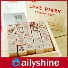 25 unids / 1 Unidades práctica bricolaje amor rojo caja de madera sellos de amor para niños decoración diario(China (Mainland))