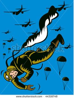vector illustration of a World war two soldier parachuting pulling cord #paratrooper #woodcut #illustration