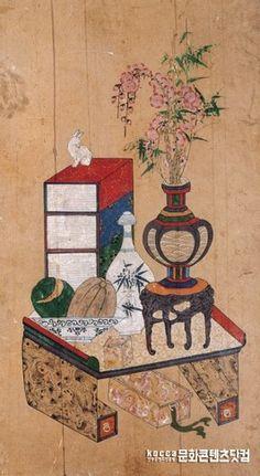책거리8폭병풍 1 본문 이미지 1 Korean Art, Chinese Art, Traditional Art, Folk Art, Oriental, Decorative Boxes, Asian, Illustration, Painting