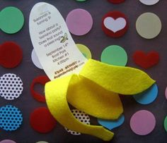 I improved upon a jungle themed invitation that I found on the Parents Magazine website and came up with this super-fun banana invitation! It was for