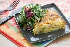 Tortilla Espanola with Bitter Green Salad. Visit http://www.blueapron.com/ to receive the ingredients.