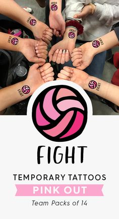 """Pack of 14 Temporary Tattoos / """"Fight"""" Pink Out Volleyball / Water Polo / T. - Volleyball -Team Pack of 14 Temporary Tattoos / """"Fight"""" Pink Out Volleyball / Water Polo / T. Volleyball Shirts, Volleyball Tattoos, Volleyball Team Gifts, Volleyball Quotes, Volleyball Pictures, Girls Softball, Volleyball Players, Beach Volleyball, Girls Basketball"""
