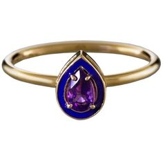 Alison Lou Amethyst and Purple Enamel Stack Ring ($250) ❤ liked on Polyvore featuring jewelry, rings, amethyst stone ring, alison lou jewelry, amethyst jewelry, 14 karat ring and 14 karat gold jewelry