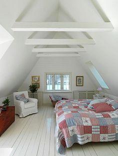 Loft Bedroom -patchwork quilt