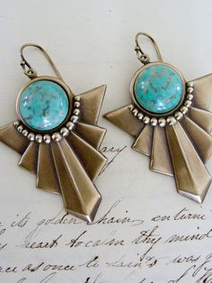 Earrings Art Deco Tribal Turquoise Vintage by chloesvintagejewelry, $28.80