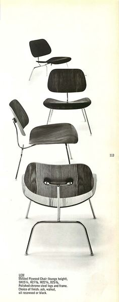 MOLDED PLYWOOD EAMES DCMs from a 1965 Herman Miller Catalog, great then, great now!