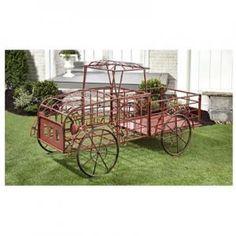 Sculpted Iron Truck Design Plant Cart/Displayer