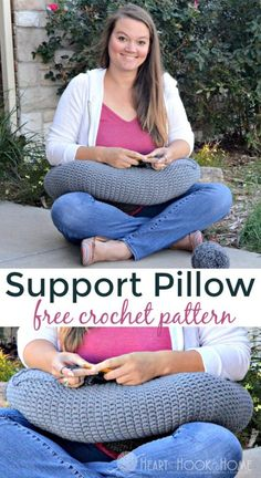 Sore neck, shoulders, elbow, or hands from working on your lap? You may be experiencing crochet fatigue, which means you need a pillow support!  Use this free pattern to make one. #crochet #freepattern #yarn #crocheting
