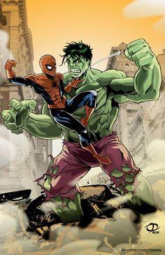 #Hulk #Fan #Art. (Spider-Man vs. Hulk) By: Tloessy.