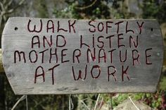 Walk softly and listen ~ Mother Nature at work. The sign is posted on the entrance to one of the walks to be enjoyed through the woods on the Brockhampton Estate.
