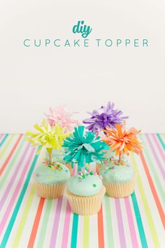 Top off your holiday treats w/ a super simple (and cute) tissue paper cupcake topper DIY! These babies are like mini festive firework explosions. Diy Cake Topper, Birthday Cake Toppers, Birthday Cupcakes, Diy Birthday Treats, Baby Cupcake Toppers, Cupcake Picks, Cupcake Cakes, Diy Cupcake, Cup Cakes