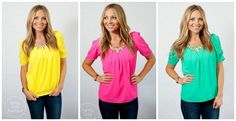 This top is an absolute FAVORITE and has been a best seller of ours!SO flattering and so trendy! The puffy sleeves and pleated scoop neck makes it the perfect fit for any body type. It has a light weight, comfy chiffon material and runs very true to size.COLORSFuchsiaCoralBlackYellowWhiteTaupeMintLimeBlushSIZESSM 0-4MED 6-8Large 8-10Models are wearing a size small