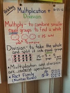 Meanings for Multiplication & Division, and Fact Families