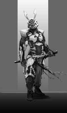 Sci Fi Samurai by Rollinmohawk (Daniel Veres) Arte Ninja, Arte Robot, Ronin Samurai, Samurai Armor, Armadura Ninja, Character Concept, Character Art, Armadura Cosplay, Futuristic Armour