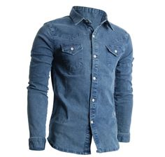9d3778cf1865 Mens Slim Fit Premium Stretch Denim Shirts (SH506) Hemden, Tailliertes  Jeanshemd, Jeanshemd