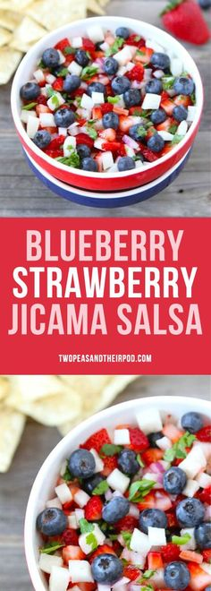 Blueberry Strawberry Jicama Salsa is the perfect summer salsa! It is easy to make and great for Memorial Day, the 4th of July, and Labor Day. Everyone loves this simple, fresh, and healthy salsa.