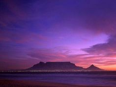 Cape Town, South Africa, Table Mountain at Dusk Places To Travel, Places To See, Table Mountain Cape Town, 7 Natural Wonders, Cruise Holidays, Cape Town South Africa, Sea World, Africa Travel, Continents