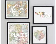 Printable - Galerie Reisen Kinderzimmer Wand Art Set, Map World Vintage Oh die Orte werden Sie größte Abenteuer gehen Drucken sofort-Download