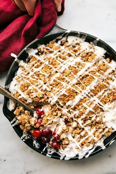 A simple-to-make skillet tart cherry crisp. This crisp requires a fraction of the effort required to make a cherry pie and tastes even better!