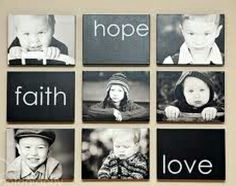 DIY Picture Frames. Photo Display ideas. Canvas wraps. Would be cute with the kids names.