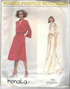 Vintage 1979 Vogue 1860 French Boutique Dress Renata Sewing Pattern by SinclairsStuff on Etsy