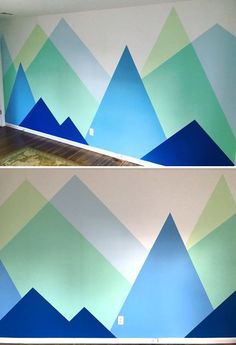 Mountain Mural, Mountain Nursery, Grey Bedroom With Pop Of Color, Nursery Modern, Luxurious Bedrooms, Wall Decal, Wall Art, Mural Ideas, Abstract
