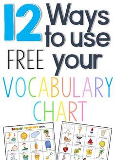 12 ways to use a vocabulary chart freebie