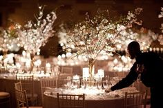 Dogwood Branch Centerpieces at Spring Wedding at Gotham Hall NYC