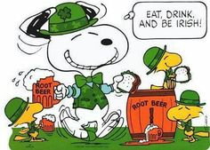 Snoopy and friends enjoying a St Patty's Day feast. Okay so I can't resist Peanuts anything... please disregard and resume your browsing! :)