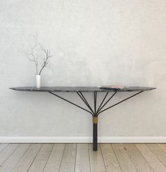 Aranha Console Steal structure with Bronze collar and Negro Marquina Top Consoles, Console Table, Dining Table, Marble Polishing, Table Furniture, Interior, Tables, Design, Group