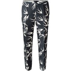 Rochas Swallow Print Trousers (4 845 SEK) ❤ liked on Polyvore featuring pants, black, black trousers, print pants, print trousers, patterned trousers and patterned pants